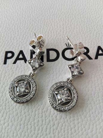 Nowe oryginalne kolczyki vintage Pandora