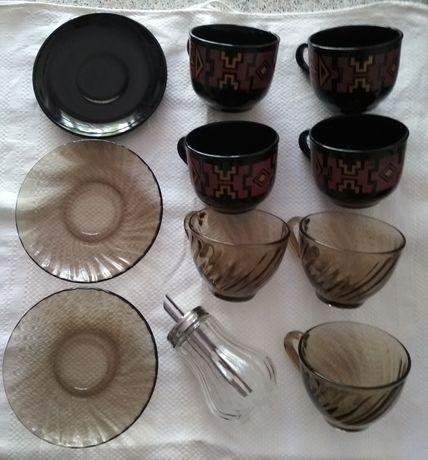 Набор чашек, блюдец и ложек для дачи, съемной квартиры
