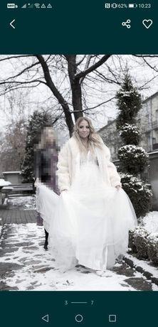 Suknia ślubna/ślub kościelny/ślub cywilny/suknia ciążowa JAK NOWA BIEL