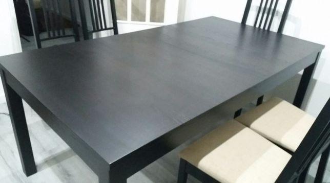 Mesa extensível castanho escuro IKEA, modelo EKEDALEN