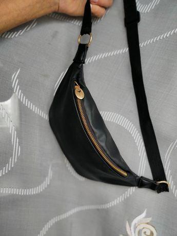 Сумка на пояс бананка even & odd на пояс через плечо женская черная