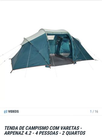 Tenda de Campismo 4 pessoas - 2 quartos