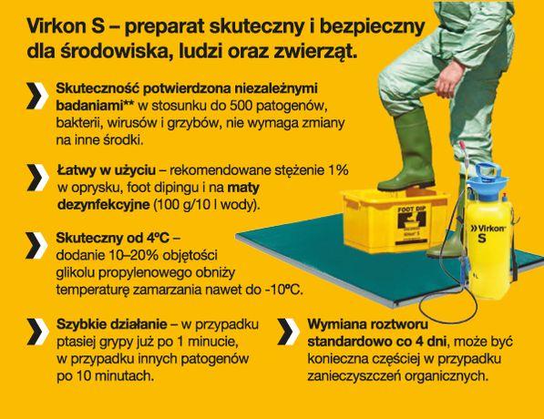 DEZYNFEKCJA Virkon S różne pojemności 200 g./5 kg/10 kg. PROMOCJA
