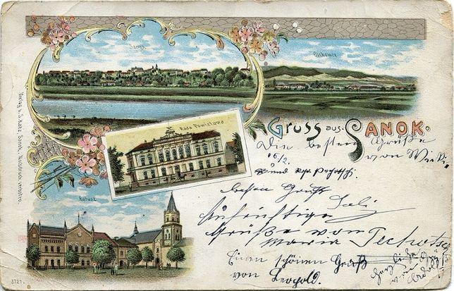 Sanok 1898 litografia 4 widoki