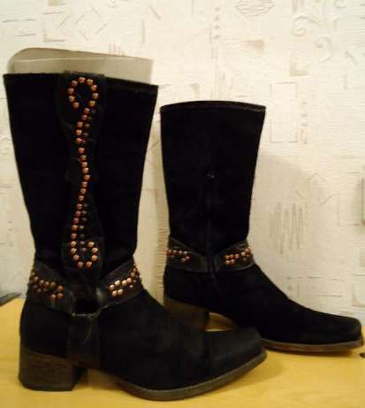 Сапоги ботинки кожа нубук весна-осень р. 40 Италия