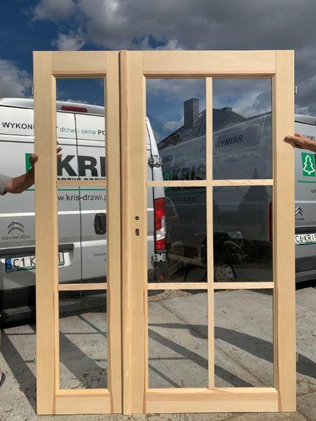 Drzwi Drewniane sosnowe Dwuskrzydłowe Francuskie szpros od ręki
