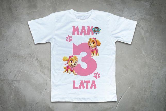 Koszulki urodzinowe PSI PATROL dla dzieci mam 3 lata