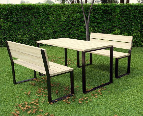 Zestaw ogrodowy loftowy loft stół ławka 6-osobowy ławeczka