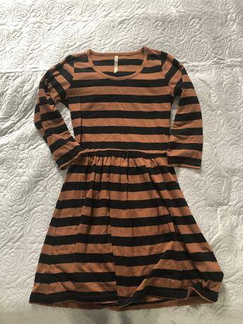 Sukienka w paski brązowo-czarna Diverse rozmiar M