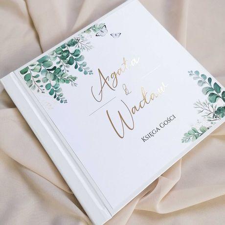 Piękna księga gości na wesele - eukaliptus i motyle