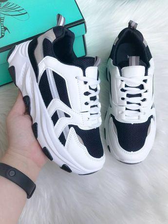 Женские кроссовки черно-белые 36-41