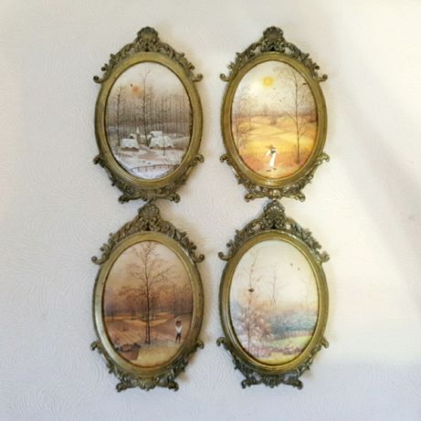 Набор картин на шелке в латунной раме