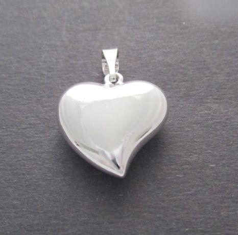 Srebrny wisior pełny, duże serce, srebro pr.925. Wyprzedaż !!