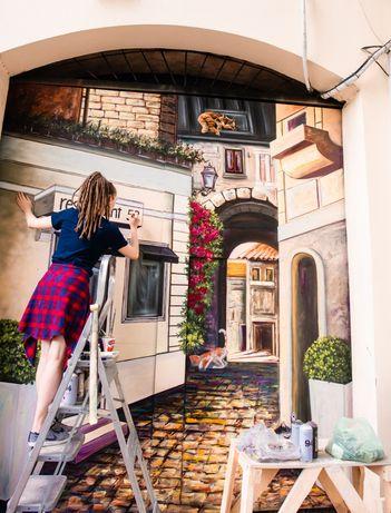 Роспись стен, граффити, оформление фасадов и интерьеров