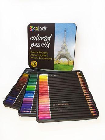 Набор цветных карандашей 72 цвета в металлическом пенале на 3 слота
