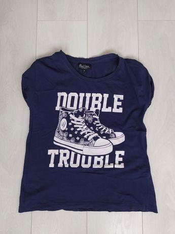Damski granatowy t-shirt - Cropp (rozmiar M)