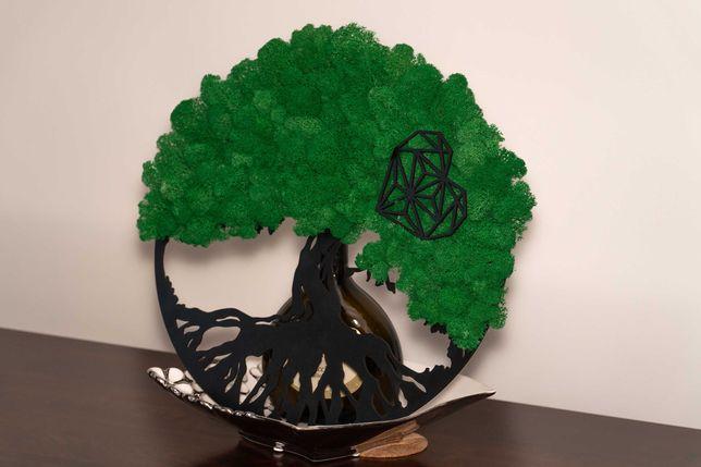 Obraz, dekoracja, prezent z mchu - drzewo. Mech chrobotek. Urodziny