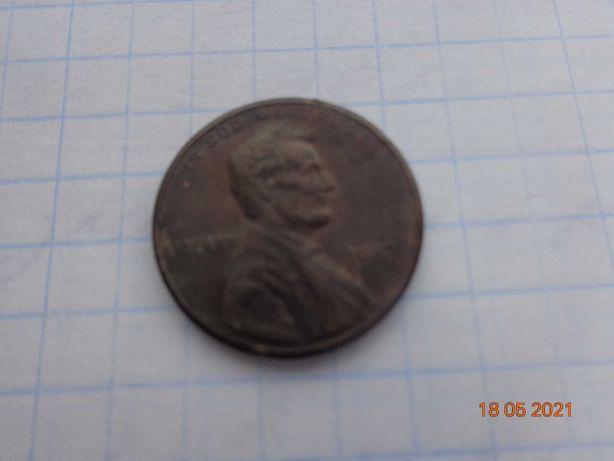 Монета 1 цент США Перевёртыш