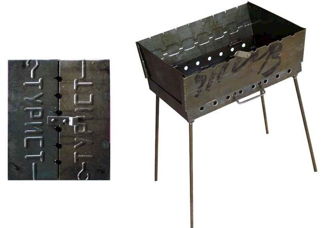 Мангал стальной для шашлыков с ручками и ножками. Мангал чемодан сталь