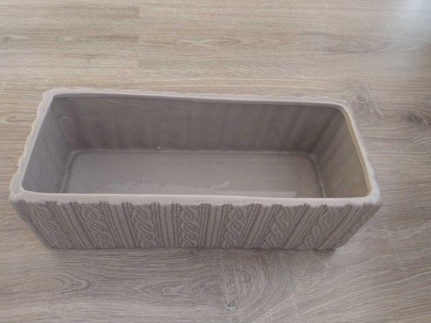 Doniczka prostokatna ceramiczna sweterek