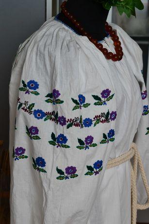 Старинная гладью сине-фиолет сорочка вышиванка, вишиванка старовинна