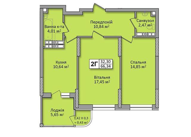 2х комнатная в ЖК Министерский 66,79 м2 67 m²