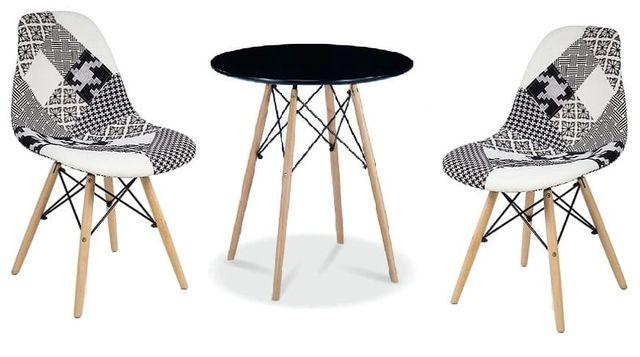 Zestaw stół okrągły czarny i 2 krzesła patchwork Simon B