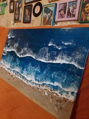 Огромная картина подарок пано море волны эпоксидная смола стиль лофт