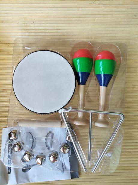 Набор музыкальных инструментов маракасы барабан  треугольник бубен