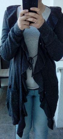 Długi szary sweter H&M z angory