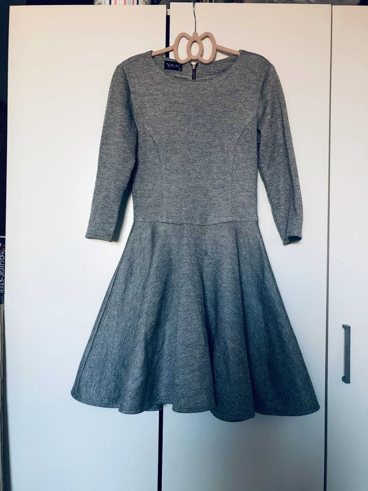 Szara rozkloszowana sukienka 36 Oleśnica - image 1