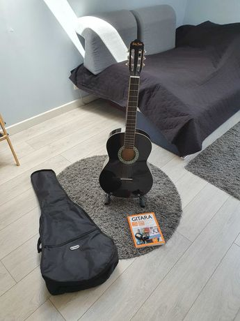 Gitara Harley Benton, stojak, futeral, książka