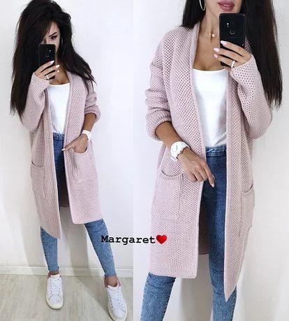 Кардиган женский вязаный теплый с карманами