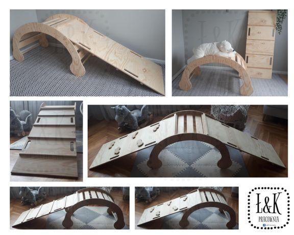 Zjeżdżalnia do bujaka drewniana - drabinka lub ścianka