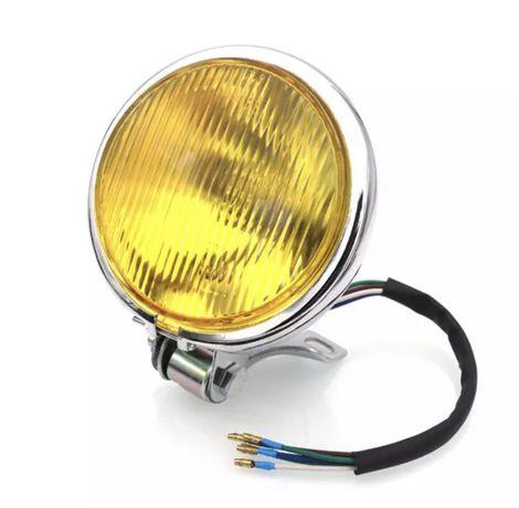 Farol frontal preto/cromado alumínio apoio inferior amarelo transparen