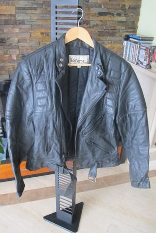 Blusão motard em pele genuína, estilo vintage - Marca Wilsons