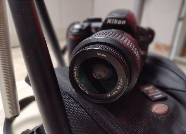 Aparat Nikon D3100 + obiektyw, statyw, karta, pokrowiec, pudełko