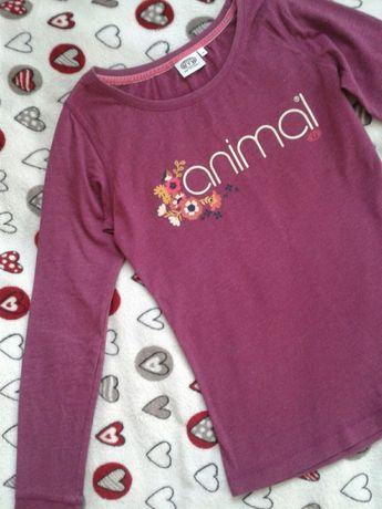 Różowa bluzka z długim rękawem z napisem kwiatki animal