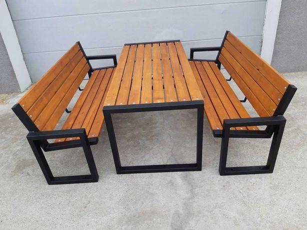 Nowoczesne meble ogrodowe zestaw komplet ogrodowy metal+drewno