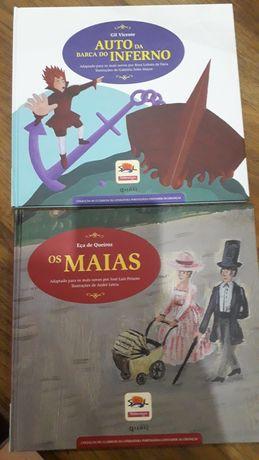 """Livros infantis """"Os Maias""""e""""Auto da Barca do Inferno """""""