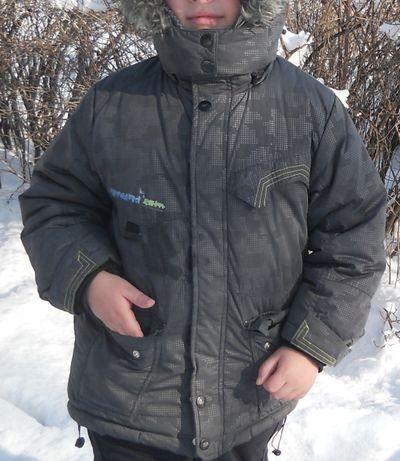 Куртка зимняя теплая на мальчика темно-серая, размер 116, Mariguita