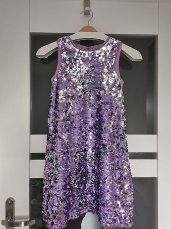 Sukienka H&m cekinowa r. 140 9-10 lat fiolet-srebrny hm