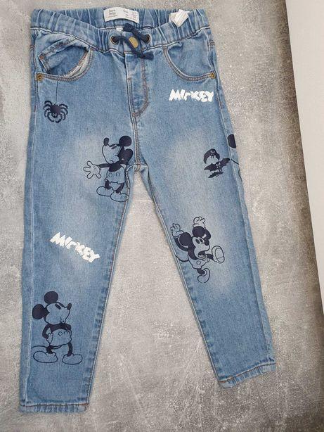 Spodnie ZARA Jeans Mickey MOUSE r.98