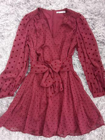 Sukienka Zara z tkaniny plumeti XS