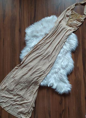 Piękna nowa suknia maxi bursztyny piaskowa wesele ślubMango L