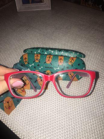 Oprawki dziecięce okulary damskie etui czerwone kwadratowe ściereczka