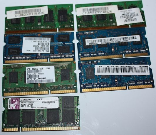 Kilka kości pamięci z laptopów