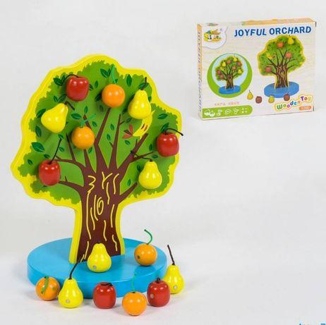 Деревянное магнитное дерево  фруктами на магнитах Монтессори