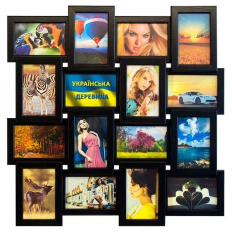 Мультирамка на 16 фото Классика деревянная рамка для фотографий коллаж