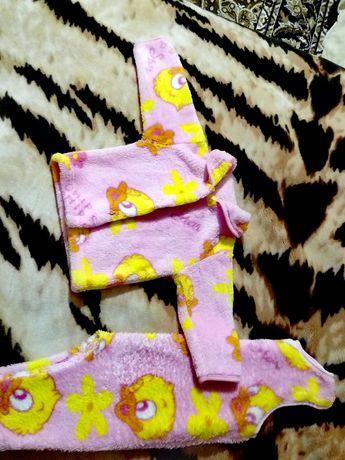 Теплый комплект Пижамка Кофта и полукомбез для девочки 67 см до пятки